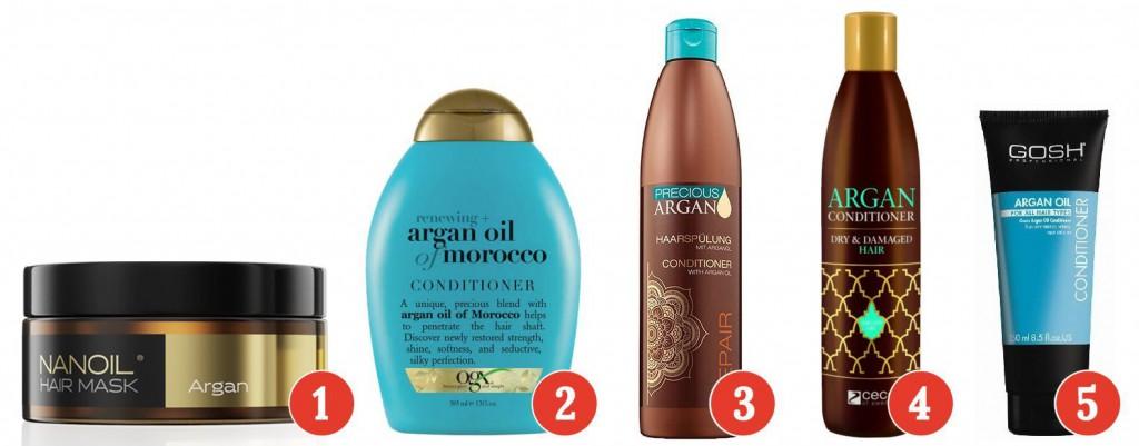 Olejek arganowy w odżywkach balsamach i maskach do włosów
